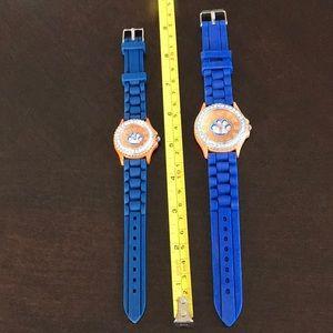 Ladies Geneva Watch Blue /Orange Paw on face